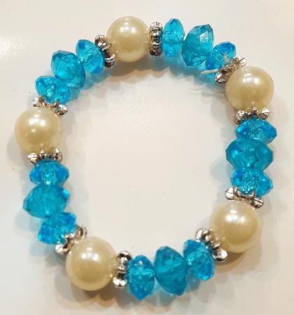 دستبند دخترانه پلاستیکی مروارید سفید در ۶ رنگ