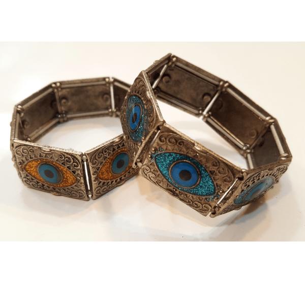 دستبند فلزی مهره طرح چشم زخم