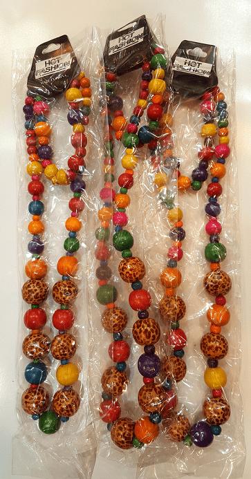 ست گردنبند و دستبند چوبی رنگی