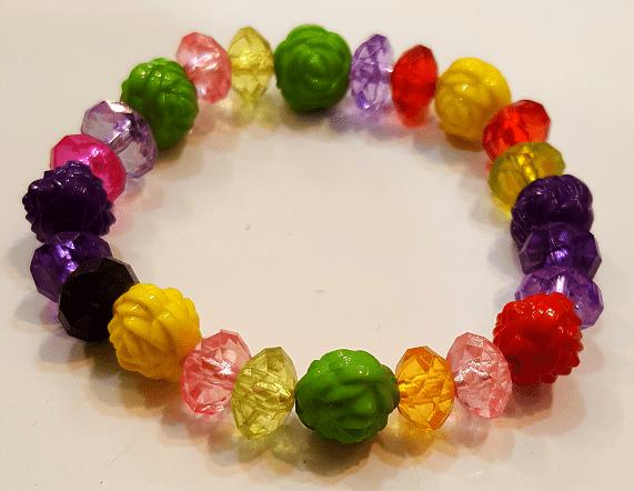 دستبند دخترانه پلاستیکی رنگی گل و مروارید